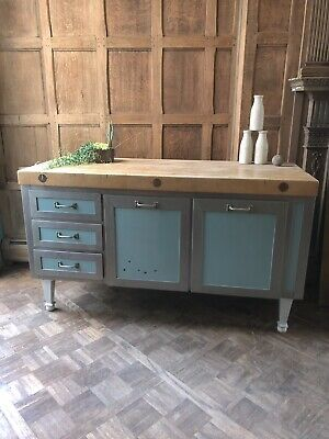 Antique General Store Counter, Butcher Block Farmhouse Kitchen Island, Workbench