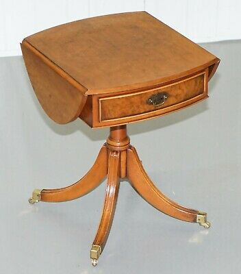 Rrp £1200 Stunning Charles Barr Burr Walnut Extending Side End Lamp Wine Table