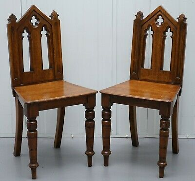 Pair Of Gothic Revival Victorian Steeple Arc Back Halls Occasional Chairs Pugin