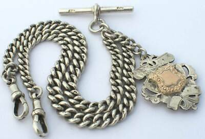 Antique Solid Silver Double Albert Pocket Watch Chain & Fob c.1889(R3074G)