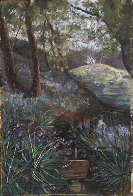 WOODLAND LANDSCAPE Antique Oil Painting INDISTINCTLY SIGNED - 20TH CENTURY