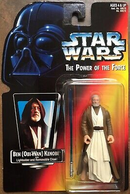 RARE! Star Wars Red POTF Ben (Obi-Wan) Kenobi Head Image Long Lightsaber