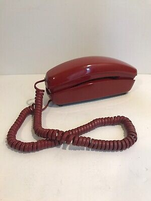 Vintage Telephone Red Trimline Phone Western Electric Bell System Touchtone