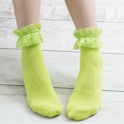 Vintage Lace Ruffle Frilly Ankle Socks Princess Girls Solid Cotton Socks Chic