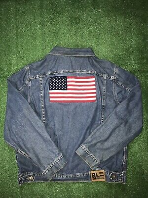 Vintage Ralph Lauren Polo Jeans American Flag Embroidered Trucker Jean Jacket XL