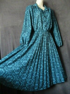 70's 80's Vintage Anthony Richards Aqua Marine Green Poly Crepe Swing Dress L
