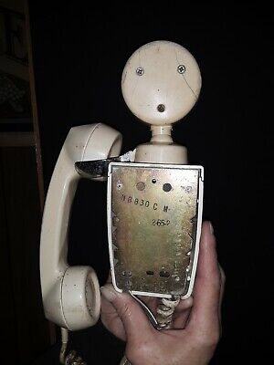 Art Deco antique White wall phone American Electric rotary space saver NB830C