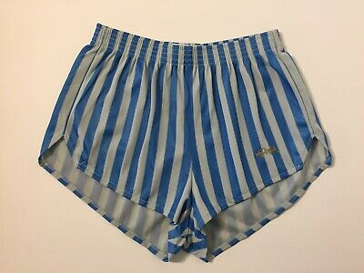 Vintage 80s NEW Dolfin Blue Gray Striped Running Shorts S Hot Pants Shiny Unisex