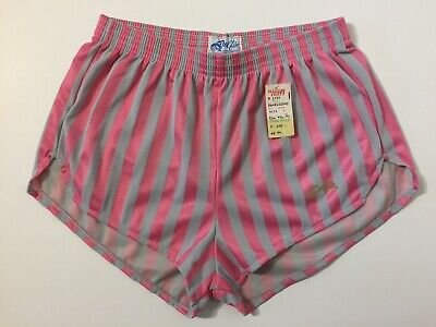 Vtg 80s NEW Dolfin Pink Gray Striped Running Shorts S Hot Pants Shiny Unisex NWT