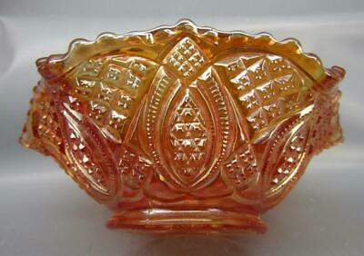 """Imperial DIAMOND RING Marigold Carnival Glass Ruffled 5½"""" Berry Bowl 7310"""