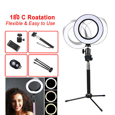 New LED Ring Lighting Studio Photo 6 Video Dimmable Lamp Tripod Stand Selfie UK