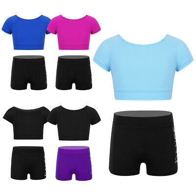 Girls Dance Sports Outfit Crop Top+Shorts Two Pieces Ballet Gym Leotards Workout