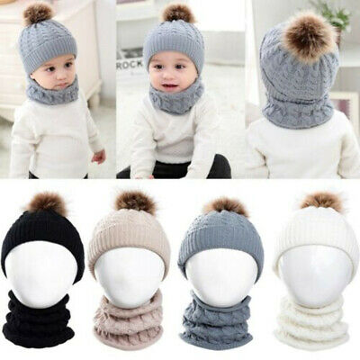 Toddler Kids Baby Boy Girl Winter Warm Pom Bobble Hat Knit Beanie Cap Scarf Set