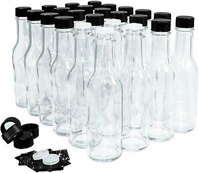 (24 Pack) 5 oz. Clear Glass Hot Sauce Bottle (woozy) with Black Cap + Shrink