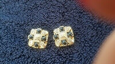 Lot of 2 Vintage Chanel square CC Logo Gold  black enamel Buttons 25 mm-0,8 inch