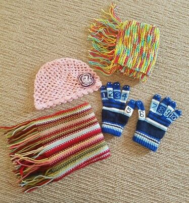4x winter items including 2 scarfs, gloves and crochet beanie. EUC!