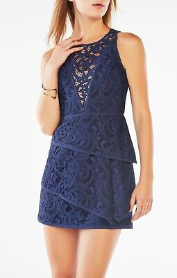Nwt Bcbg Max Azria Hanah Scroll Lace Dress Dark Navy Size 12