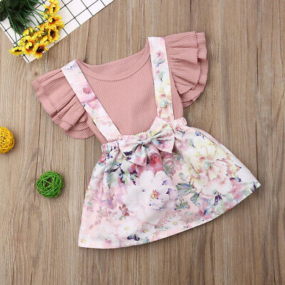 2pcs Newborn Kid Baby Girls Outfits Casual T-shirt Tops Floral Dress Clothes Set