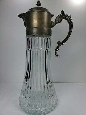 "Antique Silver ""Italy EP Zinc"" 14in Wine Claret / Water Pitcher with patina"