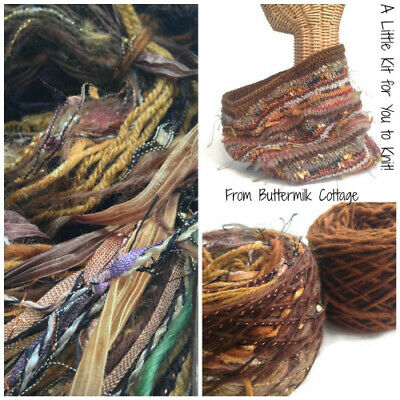 Boutique Yarn Cowl Knitting Kit Brown. ButtermilkCottage. Free Delivery