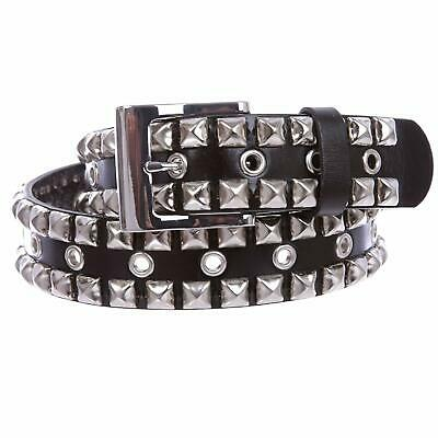 Silver Star Studded Grommets Leather Jean Belt