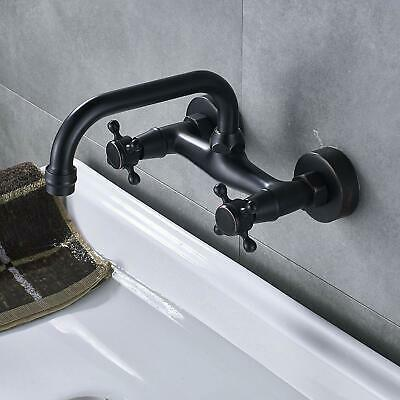 Bathroom Dual Knobs Vessel Sink Faucet Wall Mounted Basin Mixer Tap ORB Brass