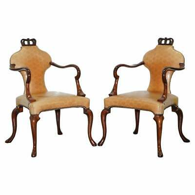 Rare Pair Of Rrp £12,000 Baker Queen Anne Stately Homes Brown Leather Armchairs