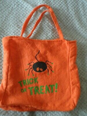 Fright Nite felt Halloween orange with black spider Trick or Treat tote bag