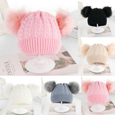UK Baby Pom Hat Bobble Beanie Double Knitted Boy Girl Infant Newborn-24 Months