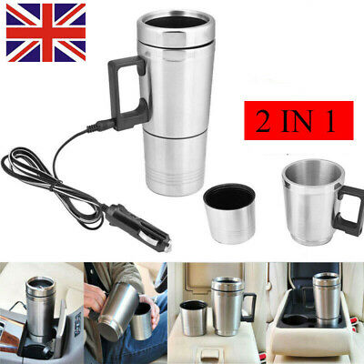 Electric Heating Cup Car Travel Coffee Tea Maker 12V Stainless Steel Thermal Mug