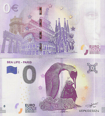 "Billete 0 euros ""SEA LIFE - PARIS"" serie 2019-1"