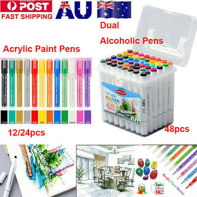 Dual Tips Marker Pens Set Or Acrylic Paint Pens Sets Marker Metal Glass Rock AU