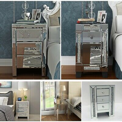 Modern 1-3 Drawers Glass Bedside Table Bedroom Mirrored Cabinet Nightstand Decor