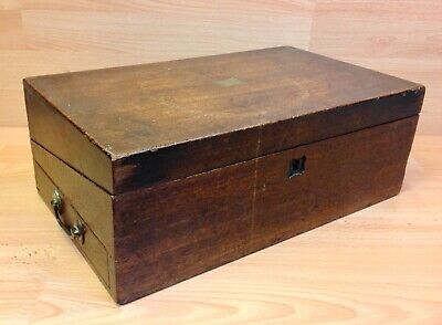 Victorian Mahogany Writing Slope With Side Drawer For Restoration.