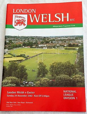 2002 LONDON WELSH v EXETER CHIEFS RUGBY PROGRAMME