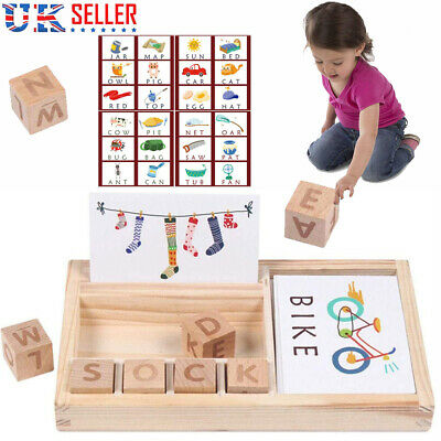 Baby 3-in-1 Spelling Learning Game Wooden English Spelling Words Enlightenment