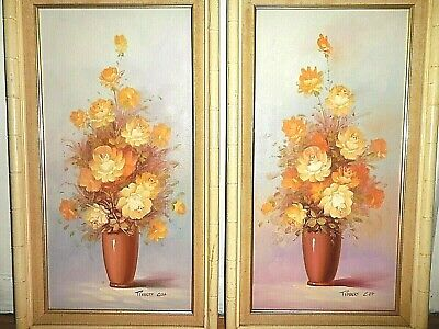 """Set of 2 Robert Cox signed original oil paintings floral still life 16"""" by 28"""""""