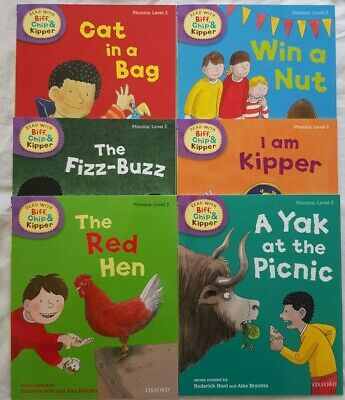 Read with Biff Chip + Kipper Level 2 phonics set of 6 books Oxford Reading Tree
