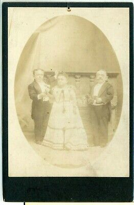 Midget Cab Card- Countess Magri with Husband & Brother- Mrs. Tom Thumb- Notes