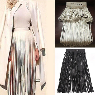 Hippie Boho Fringe Tassel Faux Leather Ladies Women Belt Long High Wide Belts JP