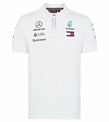 Official Mens Mercedes AMG F1 White Polo T Shirt Formula 1 Lewis Hamilton Size S