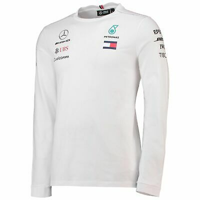 Official Mens Mercedes AMG Petronas F1 Long Sleeve T Shirt Hamilton Size M White