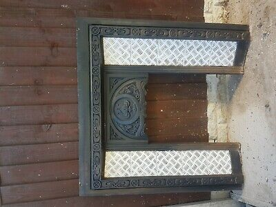 Genuine Victorian Antique Cast Iron Fireplace Surround With Beautiful Tiling