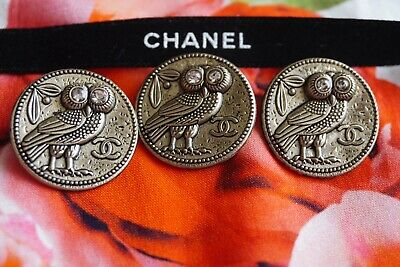 CHANEL BUTTONS SET OF 3 CC LOGO 22 mm GOLD TONED METAL OWL with CRYSTALS EYES