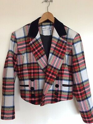 Vintage Tartan Bolero Cropped Jacket Made In Britain By Body Best UK 12