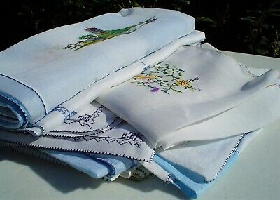 Vintage Lot of 30 Colorful Embroidered Tablecloths/Naps Old Hong Kong Nice