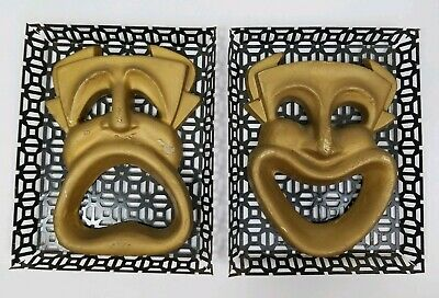 Vintage Greek Tragedy and Comedy Mask Wall Hangings Drama Theater Mid-Century