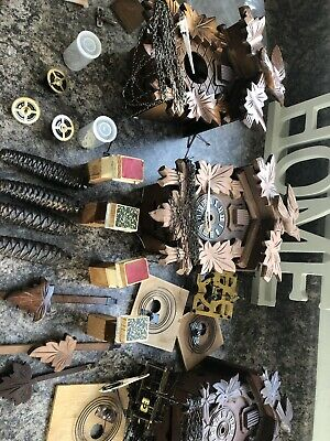 3 Vintage Black Forest Cuckoo Clocks Job Lot Not Working For Parts