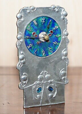 Vintage Pewter And Enamel Mantle Clock With Lovely Blue Dial Hallmarked Inside