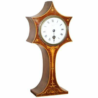Stunning Maple & Co Paris Art Nouveau Mahogany Marquetry Inlaid Mantle Clock